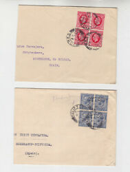 Gb 1935 Two Covers With One Block Of Four Respectively  S1209