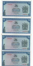Rhodesia 4 X 1 Dollar March 1973 Consecutive Numbers Pick 30 B Look Scans