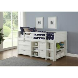 Donco Kids Twin Louver Low Loft In White With Optional Case