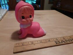 Vintage Rubber Pink Baby Crawling Position Stamped Rasco Squeaky Squeaker Toy