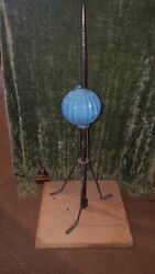 Vintage 1900's Lightning Rod W/ Stand And Blue Ribbed Milk Glass Ball, Brass Spear