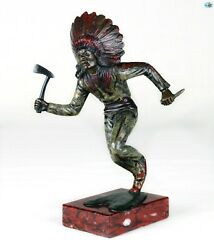 Authentic Antique Native Indian Soldier Bronze Cold Painted Statue W/marble Base