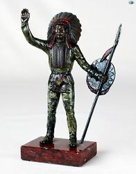 Antique Authentic Native Indian Chief Bronze Cold Painted Statue On Marble Base