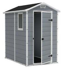 Keter Manor 4' X 6' Resin Storage Shed, All-weather Plastic Outdoor Storage,gray
