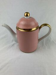 Fitz And Floyd Renaissance Peach China 8.5andrdquo Tall Coffee Pot With Lid