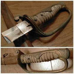 Former Japanese Army Guntō Double-handed Saber War Silver Solid Army Navy