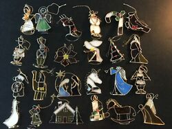 23 Franklin Mint Reflections Of Christmas Stained Glass Ornaments