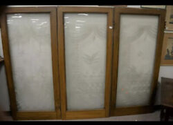3 Large Antique Etched Glass Doors Local Pick Up Only