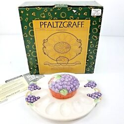 Pfaltzgraff Grapevine Deviled Egg Plate With Covered Bowl Serving Tray Nib New