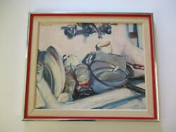 Vintage 1960and039s Impressionist Impressionism Painting Still Life Sink Dishes Mod