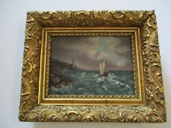 Antique Oil Painting Lighthouse Coastal Beach Landscape 19th To 20th Century