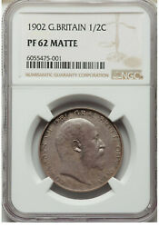 1902 Great Britain Edward Vii 1/2 Half Silver Crown Matte Proof Coin Ngc Pf62