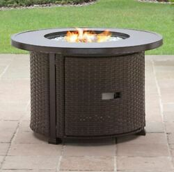 Gas Fire Pit Table Round Outdoor Patio Propane Fireplace Backyard Space Heater