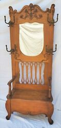 American Oak Hall Seat / Hall Tree With Hooks Mirror And Storage Bench La Area