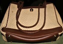 AiGNER straw and faux leather larger purse for summer use barely used... $25.00