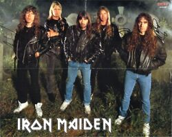 Iron Maiden Poster Fully Signed Bruce Dickinson Dave Murray Harris +3 Autograph