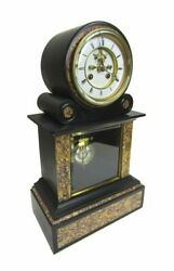 French 19th C. Heavy Black Slate And Marble Clock - Samuel Marti And Cie. C. 1860