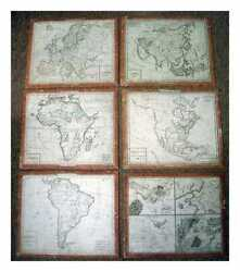 Six Vintage Colour Maps Mounted On Boards. Ca. Early 1800s. Language French