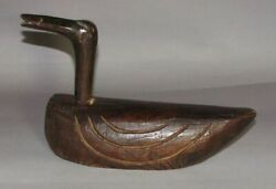 A Very Fine/large Korean Wood Carved Wedding Duck With Old Patina-19th C.