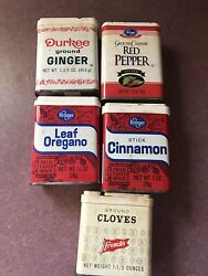 Vintage Spice Tin Cans 5 Pc Lot Durkee, French's, Kroger All Empty