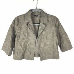 Eileen Fisher Over Jacket Size Extra Small Womens Olive Khaki 100 Silk Overcoat