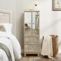 Abbyson Sophie Champagne Gold Mirrored Jewelry Armoire Champagne Gold Modern And C