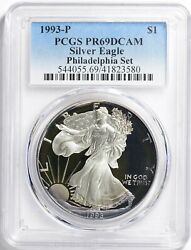 1993 Silver Eagle From The Rare Philadelphia Set Pcgs Pr69dcam With Great Toning