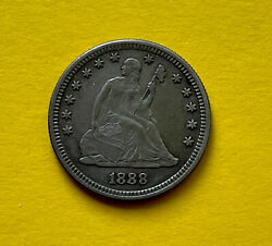 1888 S 25c Seated Liberty Quarter Silver Mint State Coin , Beauty Color. Good
