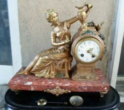 Beautiful French Art Nouveau Figural Marble And Cold Painted Spelter Clock Working