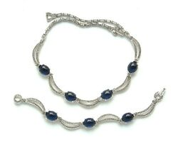 Pennino Sapphire Cabochon Swag Necklace And Bracelet