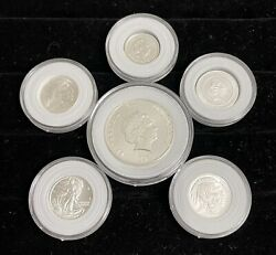6 Coins .999 Pure Silver 2017 1 Elizabeth Ii Niue And 5 Others
