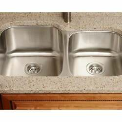 Polaris Sinks Pl305-18 Offset Double Bowl Stainless Steel Stainless Steel Finish
