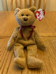 Ty Beanie Baby Curly The Bear 1996 With P.v.c. Pellets - Mint Condition