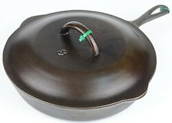 Vintage Lodge No 8 Cast Iron Skillet W/lettered Cover Cleaned Condition