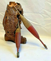 Antique Handmade Cork Fishing Bobbers 8.5 Float Tackle Gear Bob Red Brown