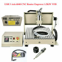 6040 3axis 1500w Cnc Usb Aluninum Alloy Router Machine Milling Engraver+remote