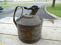 Old Vtg Brass/bronze Lead Top Metal Antique Peerless Safety Can Gas Oil Station