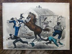 1879 Currier And Ives A Little Highly Strung Thomas Worth Horse Antique Caricature