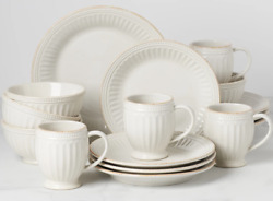 Lenox French Perle Groove 16-piece White Dinnerware Set Service For 4 Sale