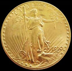 1910 Gold United States 20 Saint Gaudens Double Eagle Coin
