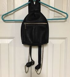 Rocker Chic Motorcycle Purse Small Backpack Silver Chain Link Vegan Leather Moto $18.74