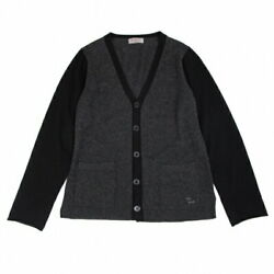 Yohji Yamamoto Pool Om Pour Homme Cashmere One Point Embroidered Bi-color Knit