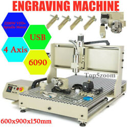 4 Axis 2.2kw Cnc 6090z Router 2436 Wood Engraving Advertising Cutting Machine