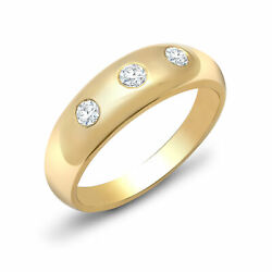 Mens 9ct Gold 1ct Diamond Domed Band Trilogy Ring 9mm