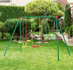 Childrens Playground Swing Glider Trapeze Rings Set Kids Outdoor Toys Playsets