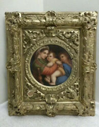 19th Century Porcelain Plaque In Elaborate Frame Mary And Jesus