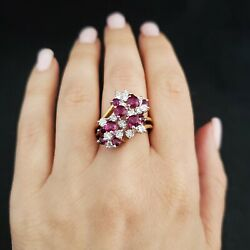 Vintage 4.1ct Diamond Ruby 18k White Yellow Gold Cocktail Cluster Ring Estate