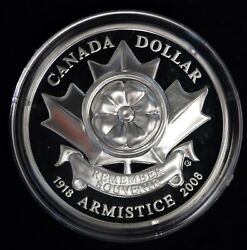 1918-2008 Canada Silver Proof Dollar The Poppy Armistice Coin With Box And Coa
