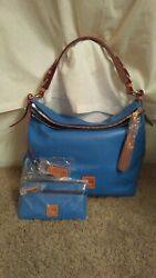 Dooney And Bourke Mckenzie Hobo Bag And Wristlet, Ocean Blue, New W Tags/protect Bag