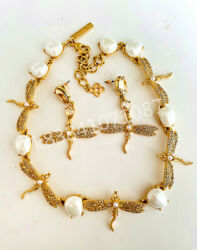 Oscar De La Renta Gold Inlaid Rhinestone Dragonfly And Pearl Necklace Andearrings